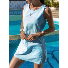 Solid Strap U-Neck Plus Size Casual Cover-ups Swimsuits