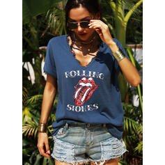 Print Lace Figure V-Neck Short Sleeves Casual T-shirts