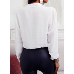 Solid Stand collar Long Sleeves Button Up Elegant Blouses