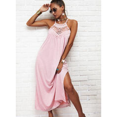 Lace/Solid Sleeveless Shift Slip Casual Maxi Dresses