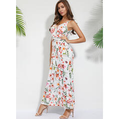 Print/Floral Sleeveless A-line Skater Vacation Maxi Dresses