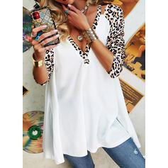 Leopard V-Neck Long Sleeves Button Up Casual Knit Blouses