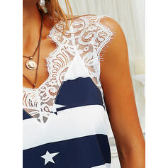 Print Color Block Lace V-Neck Sleeveless Casual Tank Tops