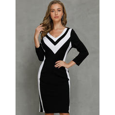Color Block 3/4 Sleeves Bodycon Knee Length Casual/Elegant Pencil Dresses