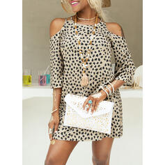 Print/Leopard 3/4 Sleeves/Cold Shoulder Sleeve Shift Above Knee Casual Dresses