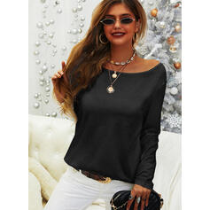 Solid Cotton Round Neck Long Sleeves Casual Basic Blouses