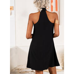 Solid Sleeveless Shift Above Knee Sexy Dresses