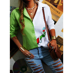Print Color Block Lapel Long Sleeves Button Up Christmas Shirt Blouses