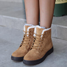 Women's Suede Flat Heel Boots Snow Boots Round Toe Winter Boots With Lace-up Solid Color shoes