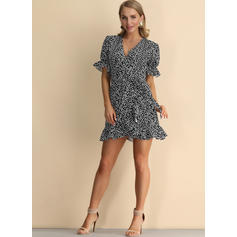 Print Short Sleeves A-line Above Knee Casual/Elegant/Vacation Wrap Dresses