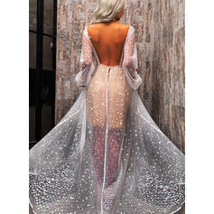 Sequins/Backless Long Sleeves A-line Skater Sexy/Party Maxi Dresses