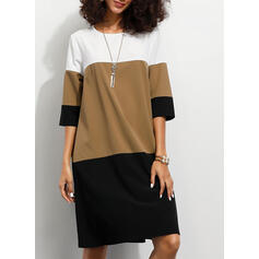 Color Block 1/2 Sleeves Shift Knee Length Casual Tunic Dresses