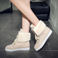 Women's Suede Flat Heel Closed Toe Boots Mid-Calf Boots Snow Boots Martin Boots With Lace-up shoes