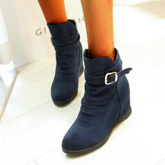Women's Leatherette Flat Heel Ankle Boots Round Toe With Zipper Solid Color shoes