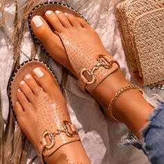 Women's PU Flat Heel Sandals Flats Peep Toe Flip-Flops Slippers With Buckle Hollow-out shoes