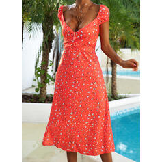 Print Short Sleeves/Cap Sleeve A-line Above Knee Sexy/Casual/Vacation Skater Dresses