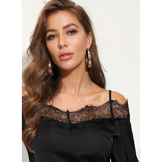 Solid Lace Off the Shoulder Long Sleeves Casual Sexy Blouses