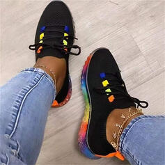Women's Cloth Flat Heel Flats Low Top Round Toe Sneakers With Lace-up Splice Color shoes