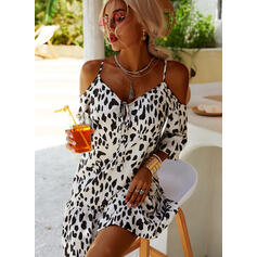 Leopard 3/4 Sleeves Shift Above Knee Casual/Vacation Tunic Dresses