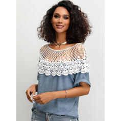 Lace Round Neck Short Sleeves Casual Sexy Blouses