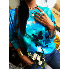 Animal Print Round Neck Long Sleeves Casual T-shirts