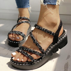 Women's PU Wedge Heel Sandals Peep Toe With Rhinestone Hollow-out shoes