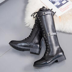 Women's PU Low Heel Flat Heel Chunky Heel Boots Knee High Boots Over The Knee Boots High Top With Buckle Lace-up Solid Color shoes