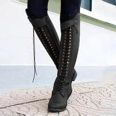 Women's Leatherette Low Heel Boots With Rivet Zipper shoes