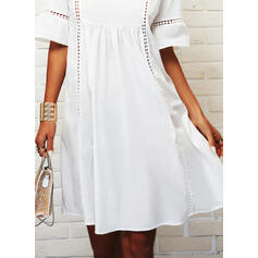 Lace/Solid 1/2 Sleeves Shift Knee Length Casual/Vacation Tunic Dresses