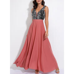 Sequins Sleeveless A-line Skater Party Maxi Dresses