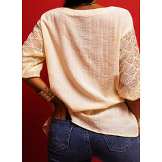 Print Lace V-Neck 3/4 Sleeves Casual Blouses