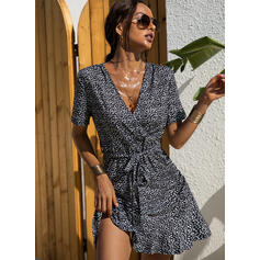 Print Short Sleeves Sheath Above Knee Casual/Elegant Wrap Dresses