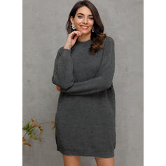 Solid Chunky knit Stand Collar Casual Sweater Dress