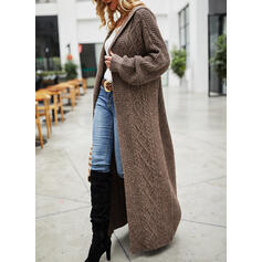 Solid Hooded Casual Long Cardigan