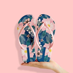 Women's PVC Flat Heel Sandals Flats Peep Toe Flip-Flops Slippers With Hollow-out Floral Print shoes