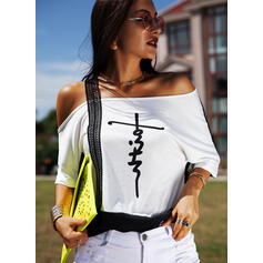 Print Lace One-Shoulder Short Sleeves Casual Blouses