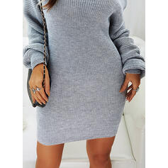 Couleur Unie Col Rond Sexy Robe Pull