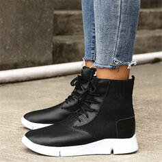 Women's PU Low Heel Boots Round Toe With Lace-up Solid Color shoes