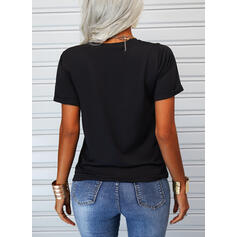 Animal Print Figure Heart Round Neck Short Sleeves Casual T-shirts