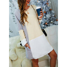 Color Block Long Sleeves Shift Above Knee Casual Tunic Dresses