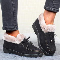 Women's Cloth Flat Heel Ankle Boots Round Toe Winter Boots Snow Boots With Bowknot Solid Color shoes