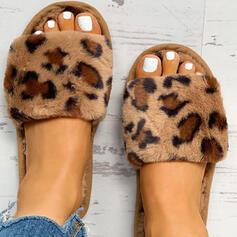 Women's Fabric Flat Heel Slippers With Faux-Fur shoes