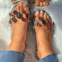 Women's PVC Flat Heel Sandals Slippers With Rhinestone shoes