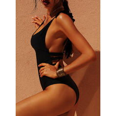 High Cut Tropical Print Neon Strap Sexy One-piece Swimsuits