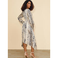 Print Long Sleeves A-line Asymmetrical Casual Skater Dresses
