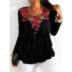 Embroidery Floral V-Neck Long Sleeves Casual Blouses