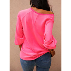 Print Figure One Shoulder Long Sleeves Casual T-shirts