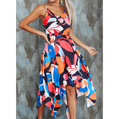 Geometric Print Sleeveless A-line Skater Casual/Vacation Midi Dresses