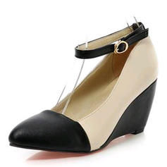 Women's Leatherette Wedge Heel Pumps Closed Toe Wedges With Buckle shoes