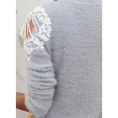 Solid Lace Cold Shoulder Casual Sweaters